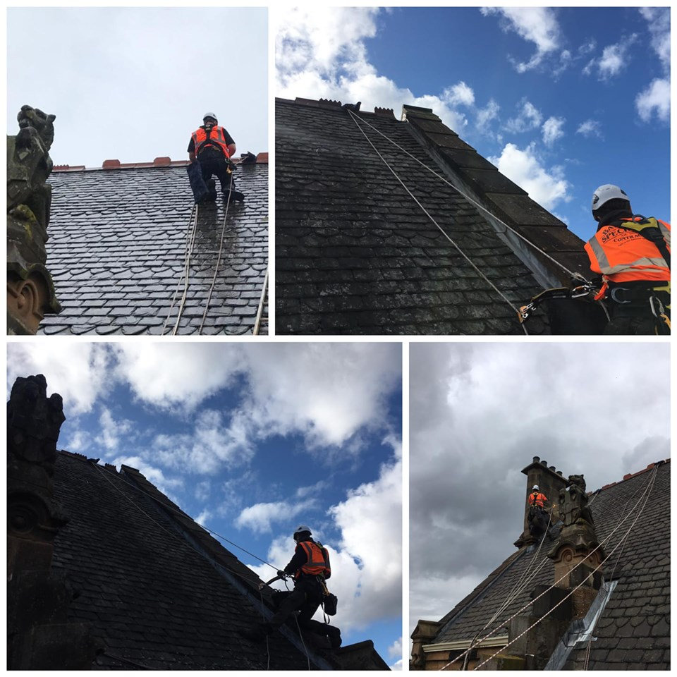 roofer fixing a late roof on an old building in Glasgow
