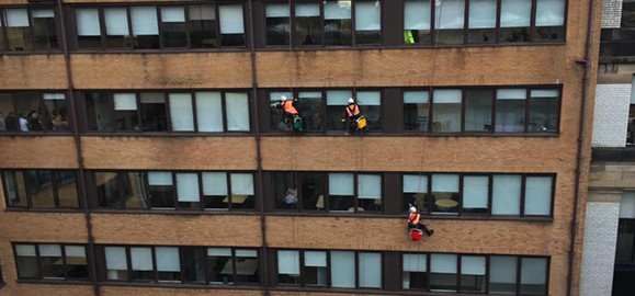 Our IRATA Rope Access team providing window cleaning services for an Office Building in Glasgow City Centre