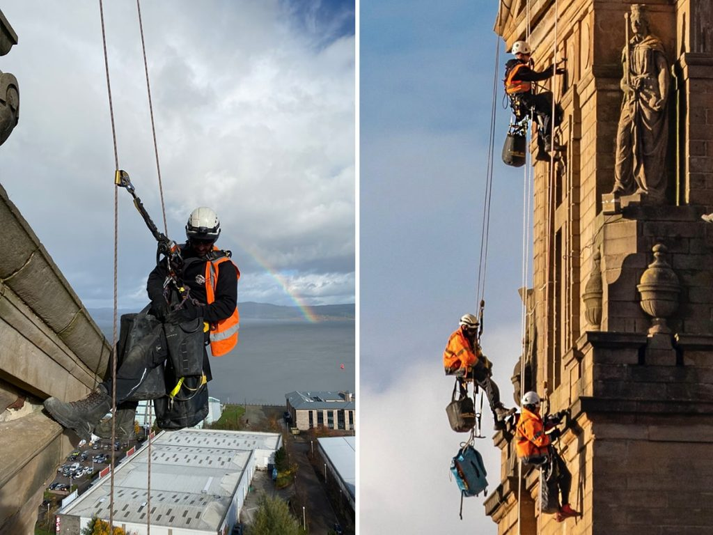 rope access stonework repairs on historic buildings