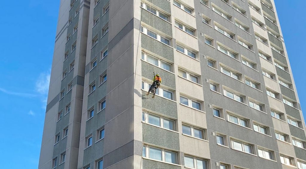 a cladding replacement project in Glasgow